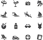 Holidays Beach Silhouette icons eps 10