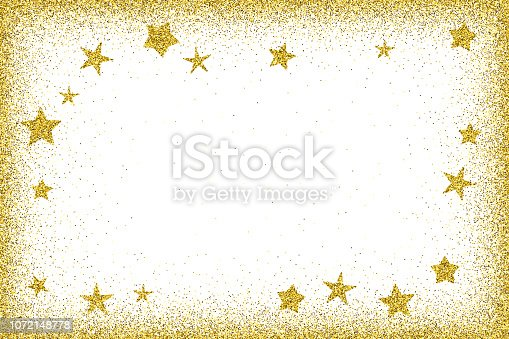 istock Holidays card template - Gold glitter frame with glitter stars 1072148778