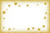Holidays card template - Gold glitter frame and glitter stars. The eps file is organized into layers for the background, the glitter and the stars.