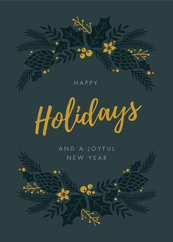 Holidays Card with wreath.