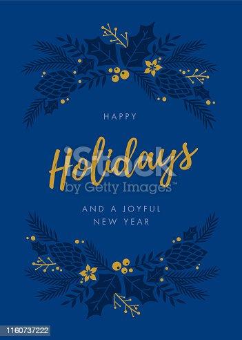 Holidays Card with wreath. - Illustration