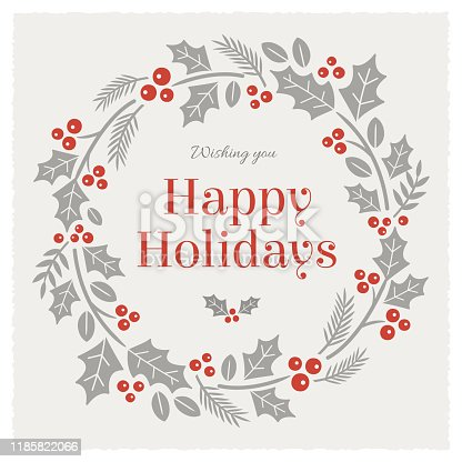Holidays Card with wreath. stock illustration