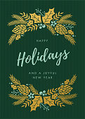 Holidays Card with wreath - Illustration