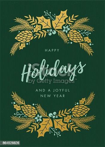 istock Holidays Card with wreath. 864526626