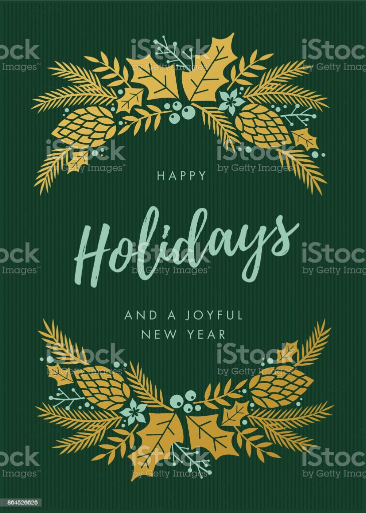 Holidays Card with wreath. vector art illustration