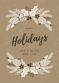 Holidays Card with wreath. - Illustration