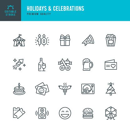 Holidays & Celebrations - vector line icon set. Editable stroke. Pixel perfect. Set contains such icons as Party, Circus, Picnic, Event, Christmas, Fireworks.