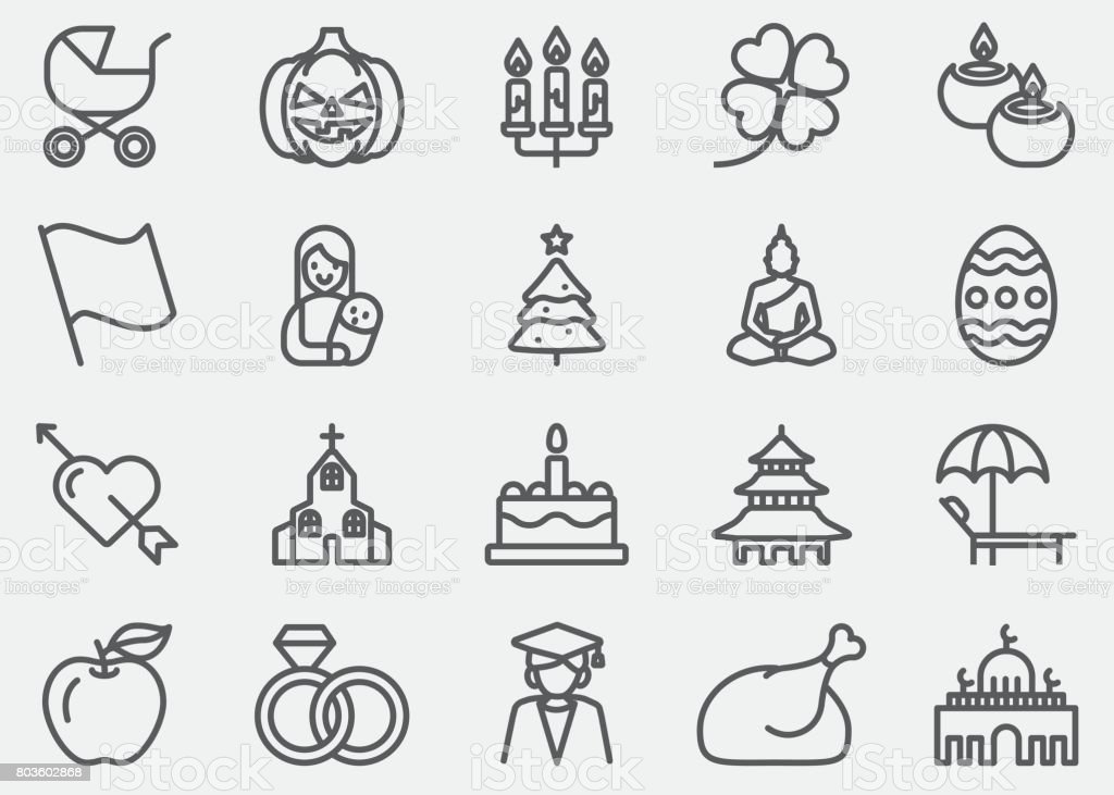 Holidays Event Calendar Line Icons vector art illustration