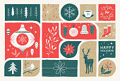 Retro holiday card with hand drawn Christmas decoration.  Editable vectors on layers.
