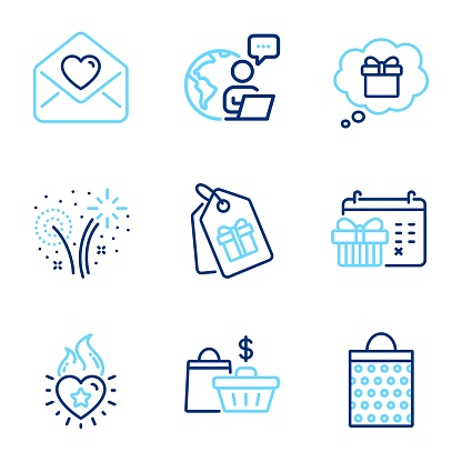 Holidays icons set. Included icon as Sale bags, Heart flame, Shopping bag signs. Vector