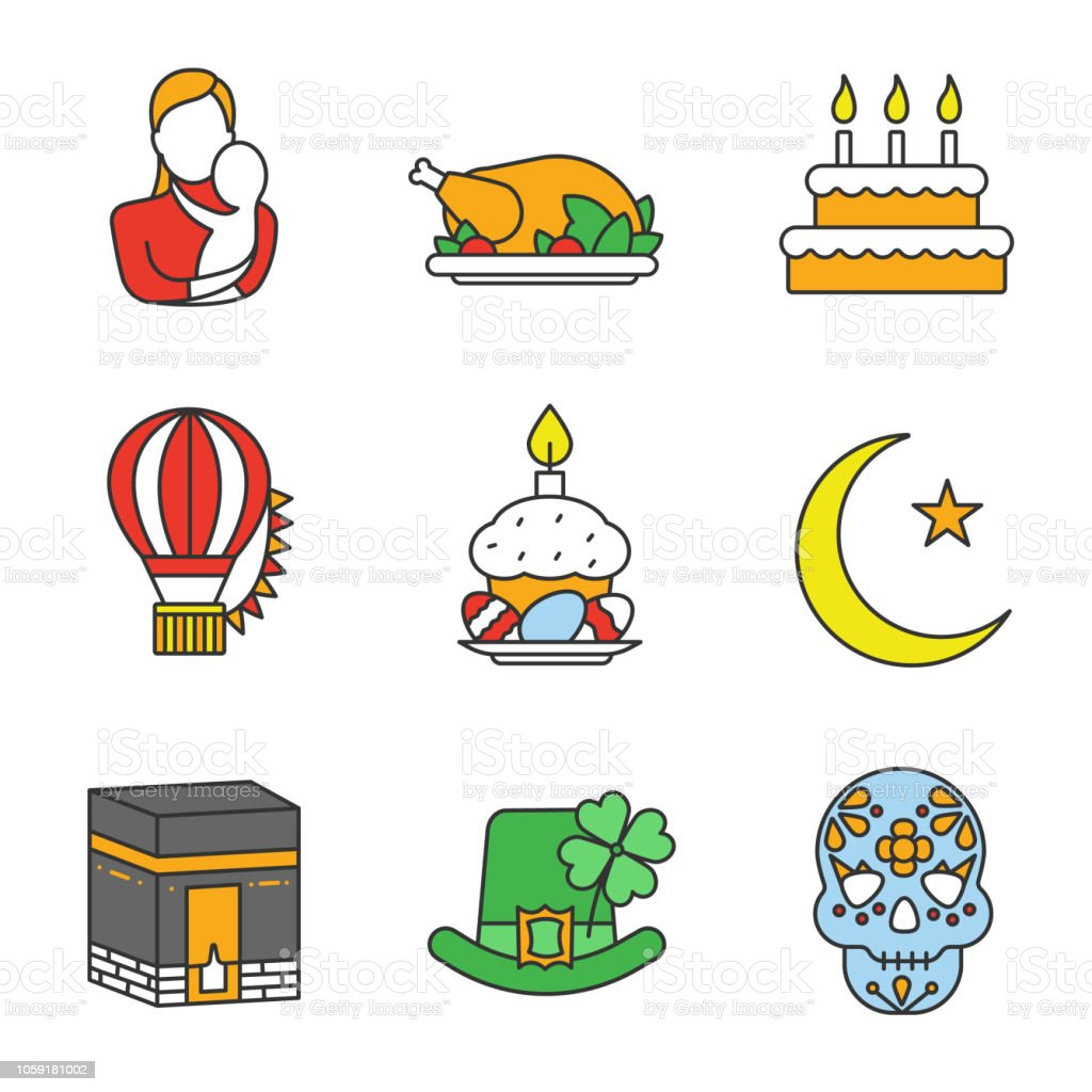 Holidays icons vector art illustration