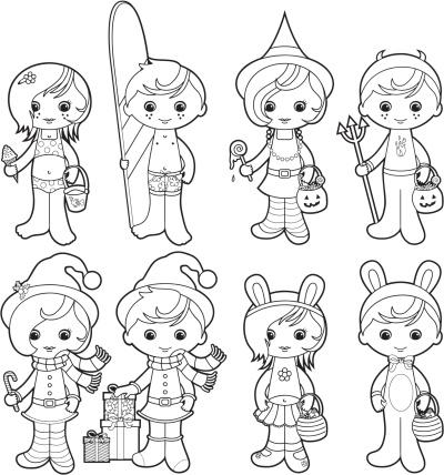 Holidays kids coloring set