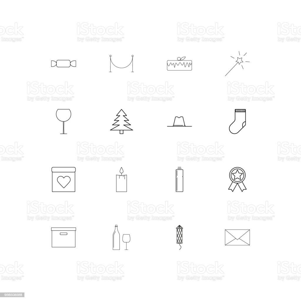 Urlaub lineare dünne Symbole festgelegt. Beschriebenen einfachen Vektor-icons - Lizenzfrei Aserbaidschan Vektorgrafik