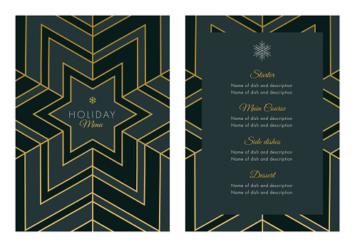 Holidays Menu Template with geometric Snowflake