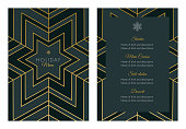 Holidays Menu Template with geometric Snowflake. - Illustration