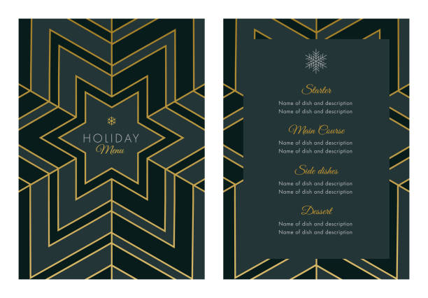 holidays menu template with geometric snowflake - winter fashion stock illustrations, clip art, cartoons, & icons