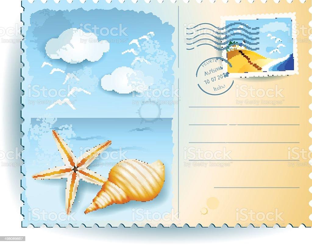 Ilustraci n de vacaciones en la playa una tarjeta postal y - Dibujos para una postal de navidad ...