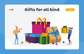 Holidays or Birthday Celebration Landing Page Template. Happy People Carry Gift Boxes Wrapped with Bows. Characters Prepare Presents for Family and Friends on Boxing Day. Cartoon Vector Illustration