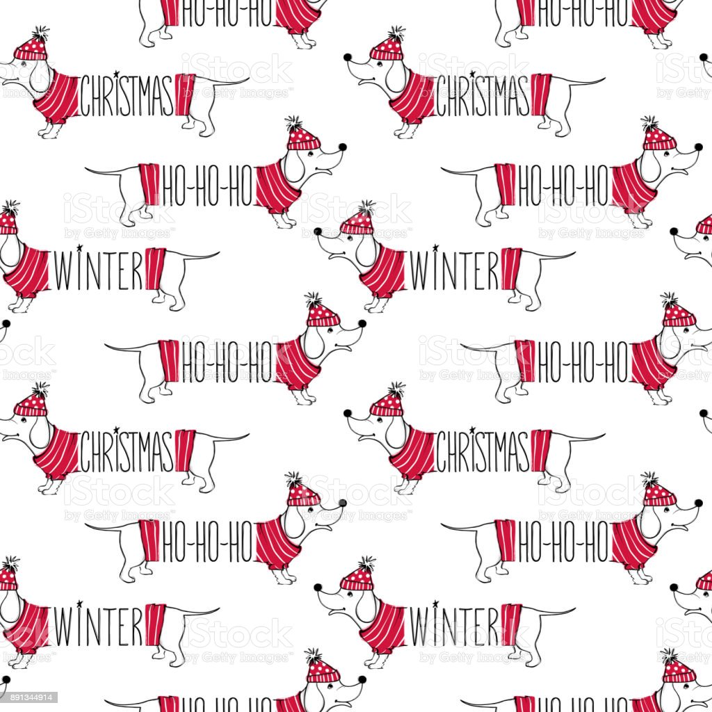 holidays seamless pattern with funny dog happy new year pets merry christmas background