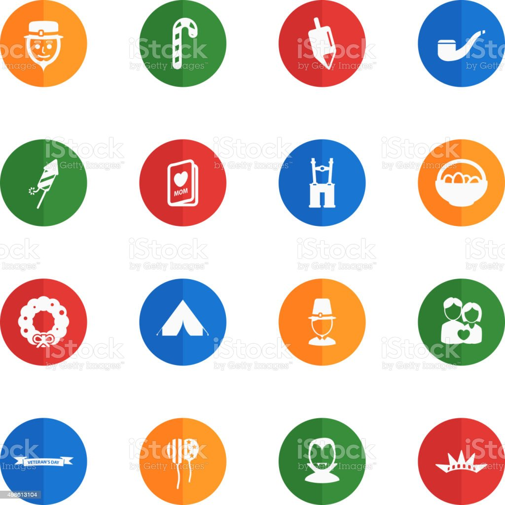 Holidays simply icons vector art illustration