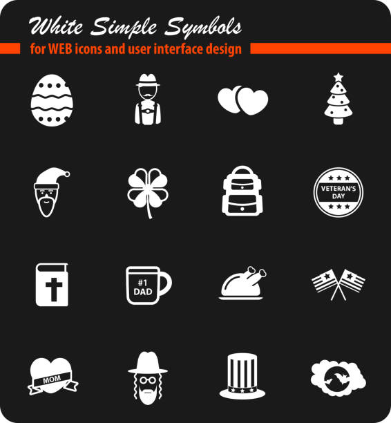 Holidays simply icons Holidays simply symbol for web icons and user interface american flag tattoos for men stock illustrations