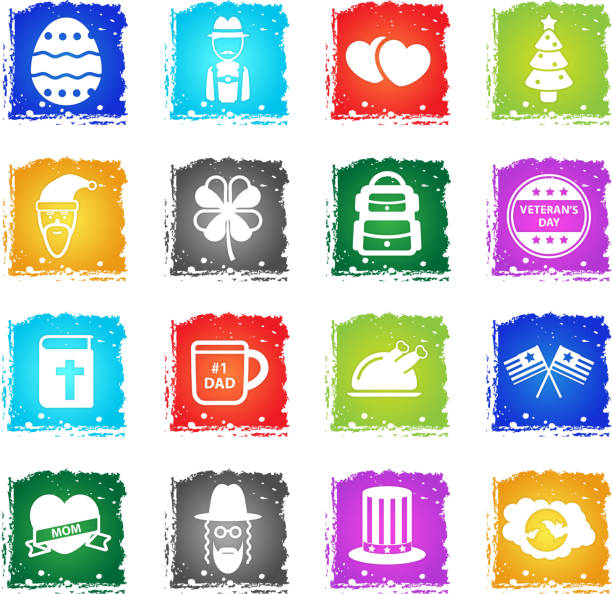 Holidays simply icons Holidays simply symbol in grunge style for user interface design american flag tattoos for men stock illustrations