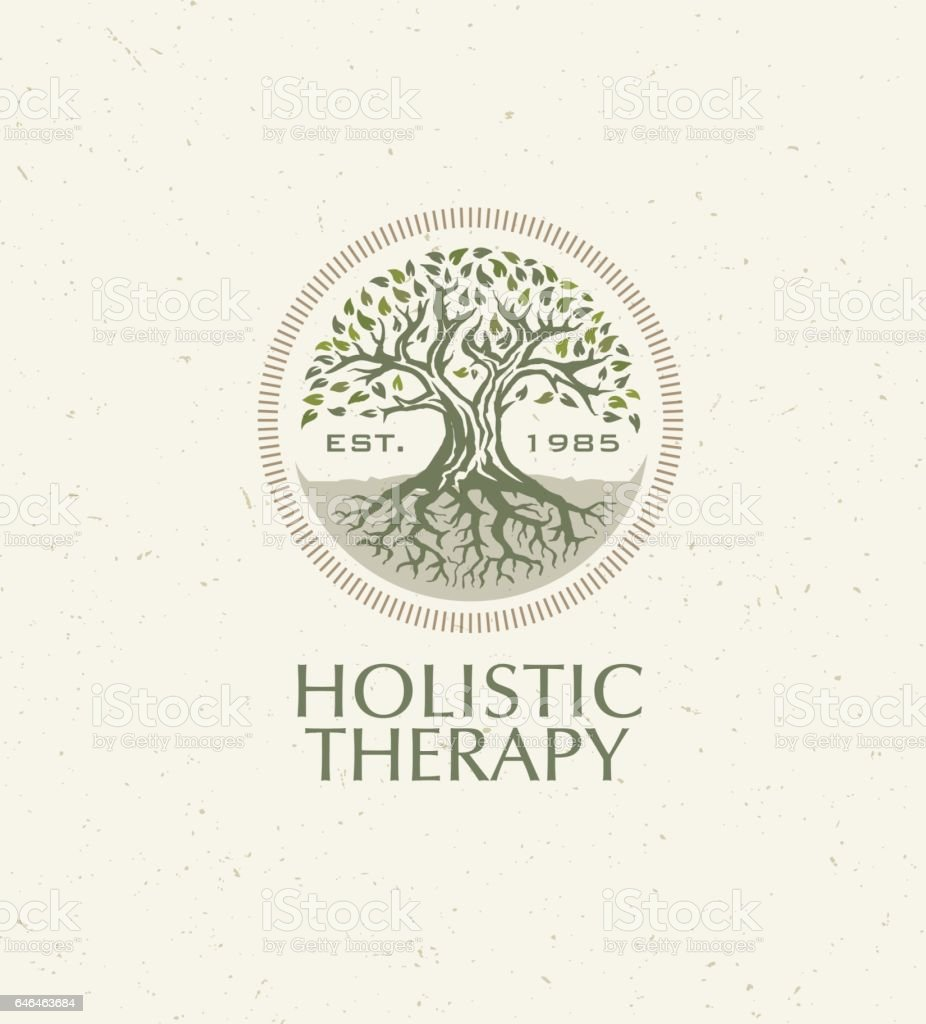 Holistic Therapy Tree With Roots On Organic Paper Background. Natural Eco Friendly Medicine Vector Concept vector art illustration
