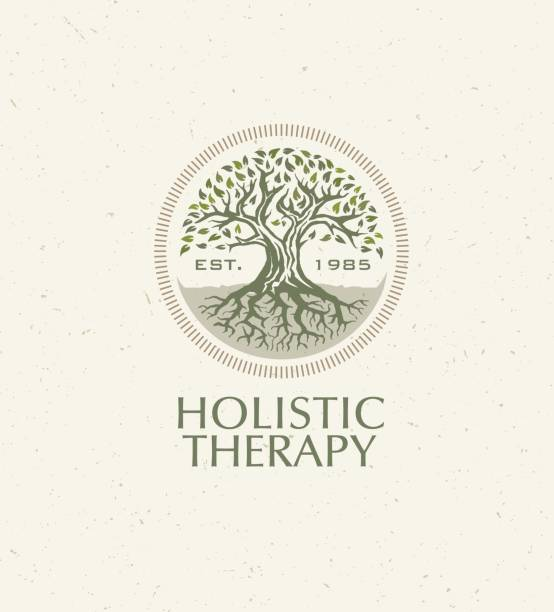 holistic therapy tree with roots on organic paper background. natural eco friendly medicine vector concept - naturopathy stock illustrations, clip art, cartoons, & icons