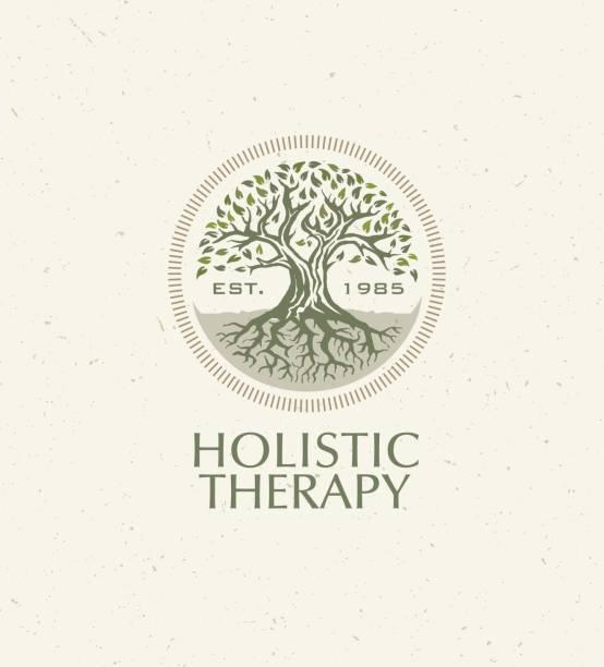 ilustrações, clipart, desenhos animados e ícones de terapia holística árvore com raízes no fundo orgânico papel. conceito de vetor de medicina natural eco friendly - medicina alternativa