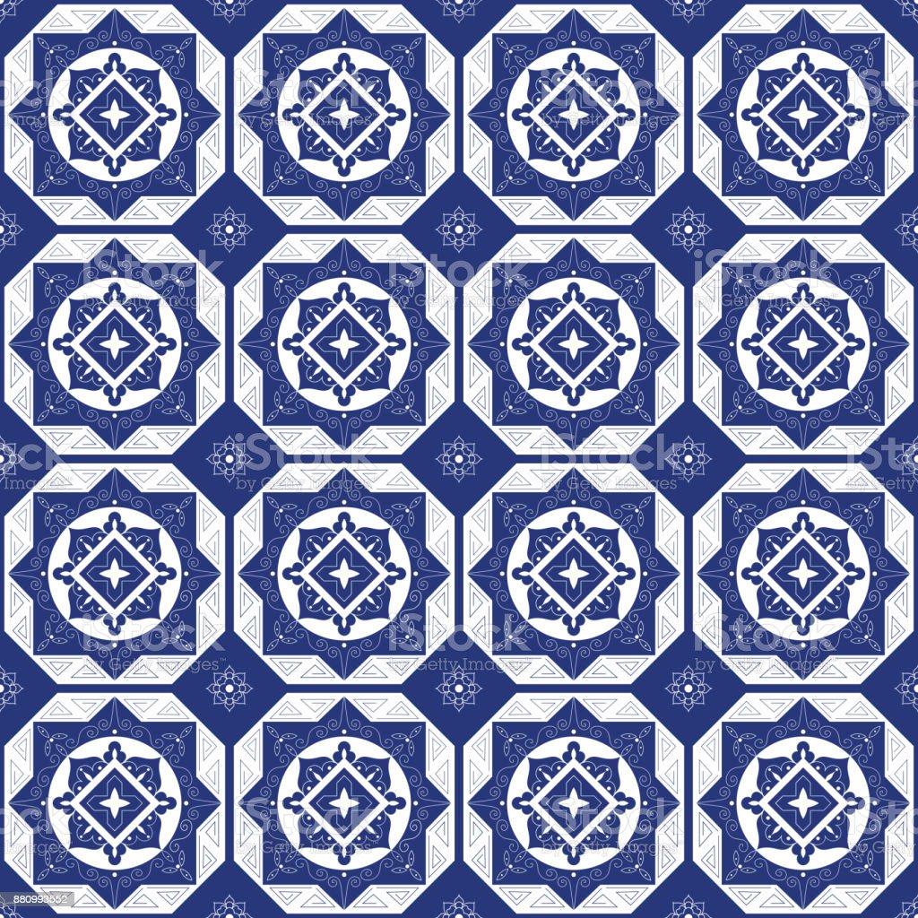 Holland blue white porcelain tile floor vector art illustration