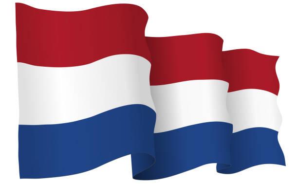 stockillustraties, clipart, cartoons en iconen met holland vlag zwaaien vectorillustratie - den haag
