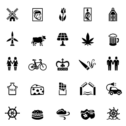 Holland flat icon set