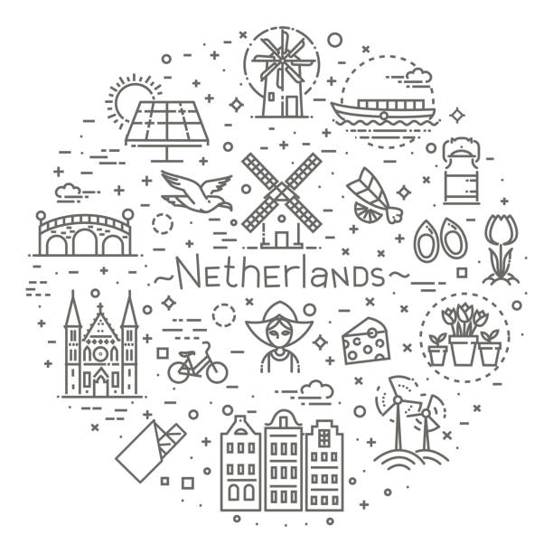 holland flat icons set - holandia stock illustrations