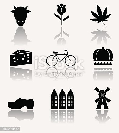 Vector illustration: collection of symbols of Holland.