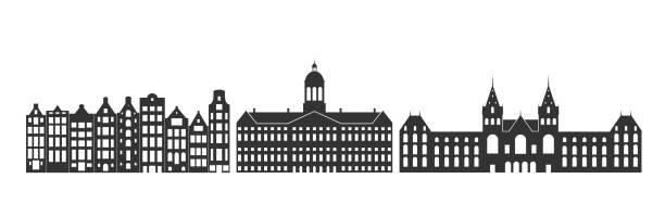 illustrations, cliparts, dessins animés et icônes de hollande. architecture d'isolement de hollande sur le fond blanc - dam