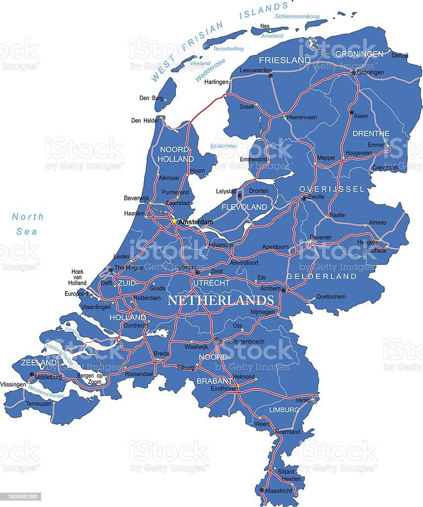 Holland map vector art illustration