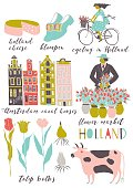 set of illustrations of the Netherlands - the seller of flowers, tulips, girl on bicycle, Amsterdam canal houses, cow, tulip bulbs, ethnic wooden shoes