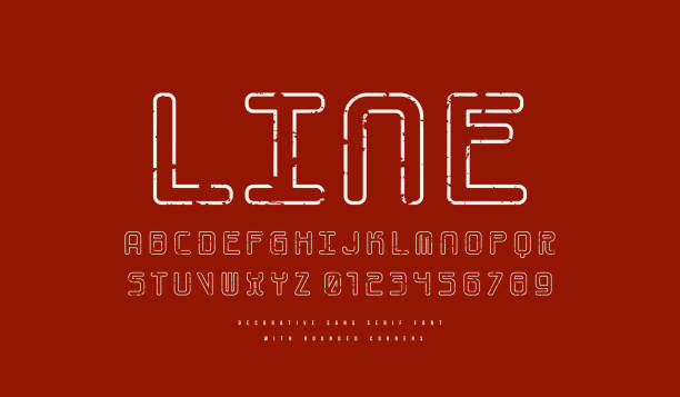 hollow monospaced sans serif font with rounded corners - thin line fonts stock illustrations