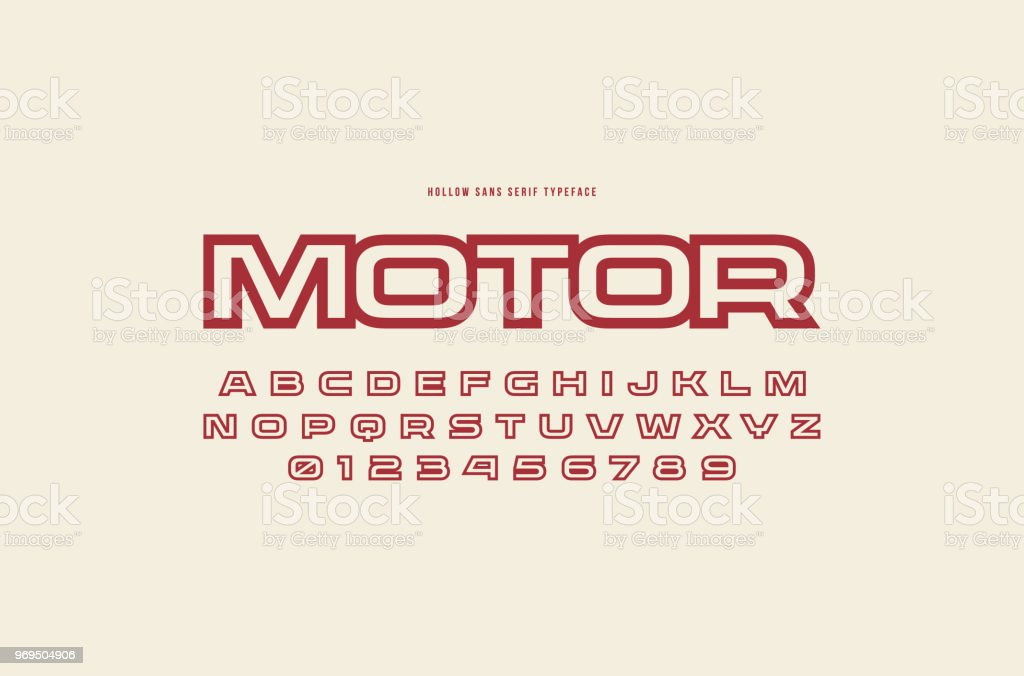 Hollow Sans Serif Font In Racing Style Stock Illustration