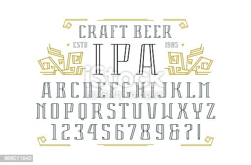 Hollow serif font and ornament. Letters and numbers design for label and title. Print on white background