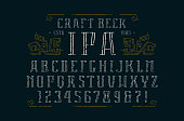 Hollow serif font and ornament. Letters and numbers with rough texture for label and title design. Print on black background
