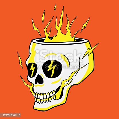 istock Hollow skull full of lighting out of the hole handrawn vector illustration 1225924107