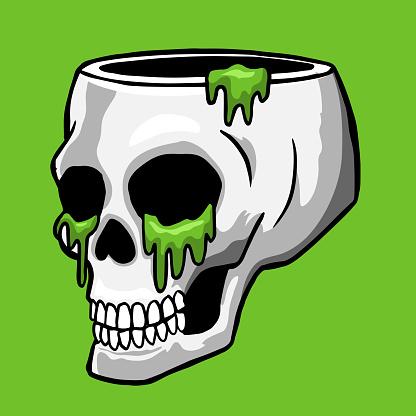 cráneo hueco con gotas de baba verde handibujado ilustración vectorial