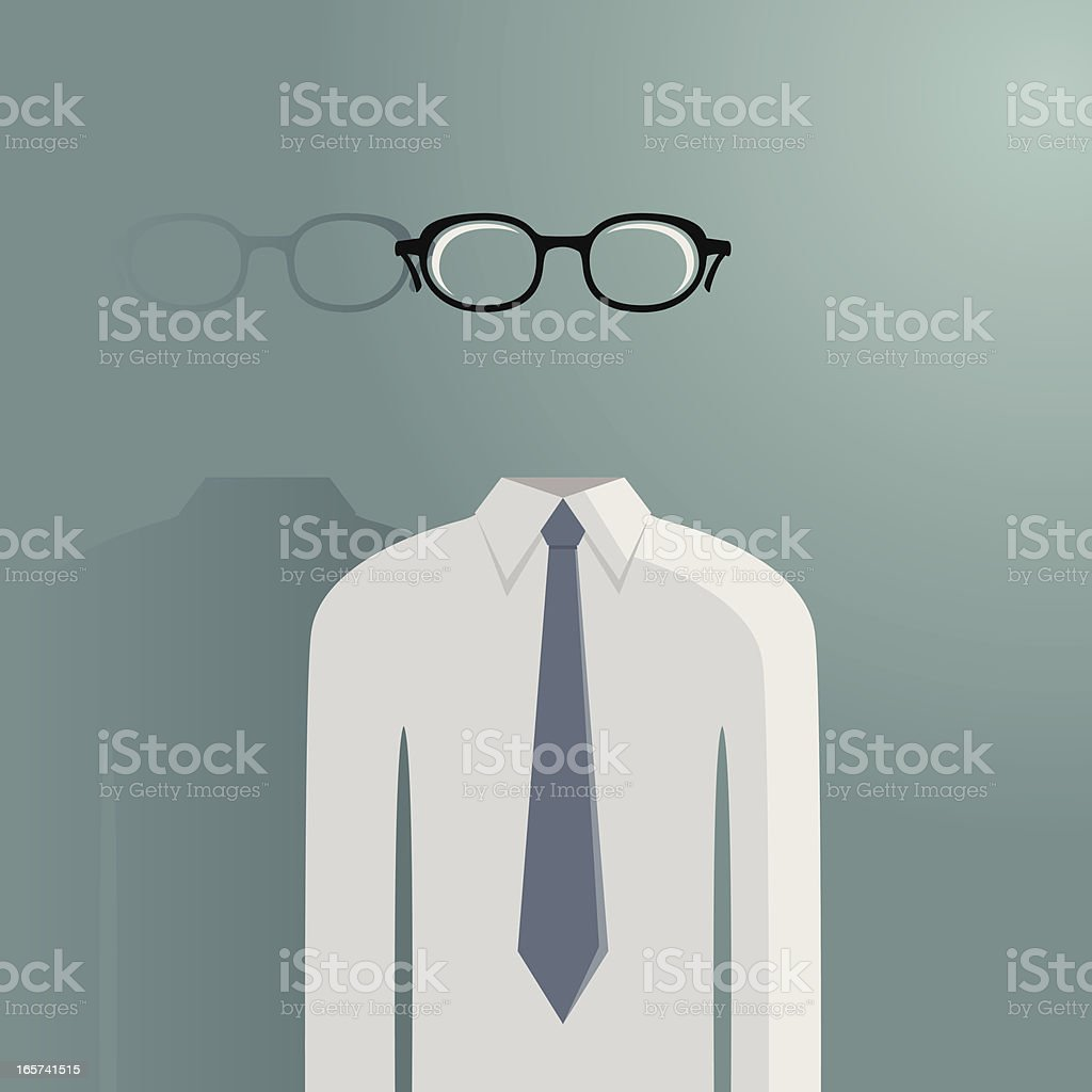 Hollow transparent man vector art illustration