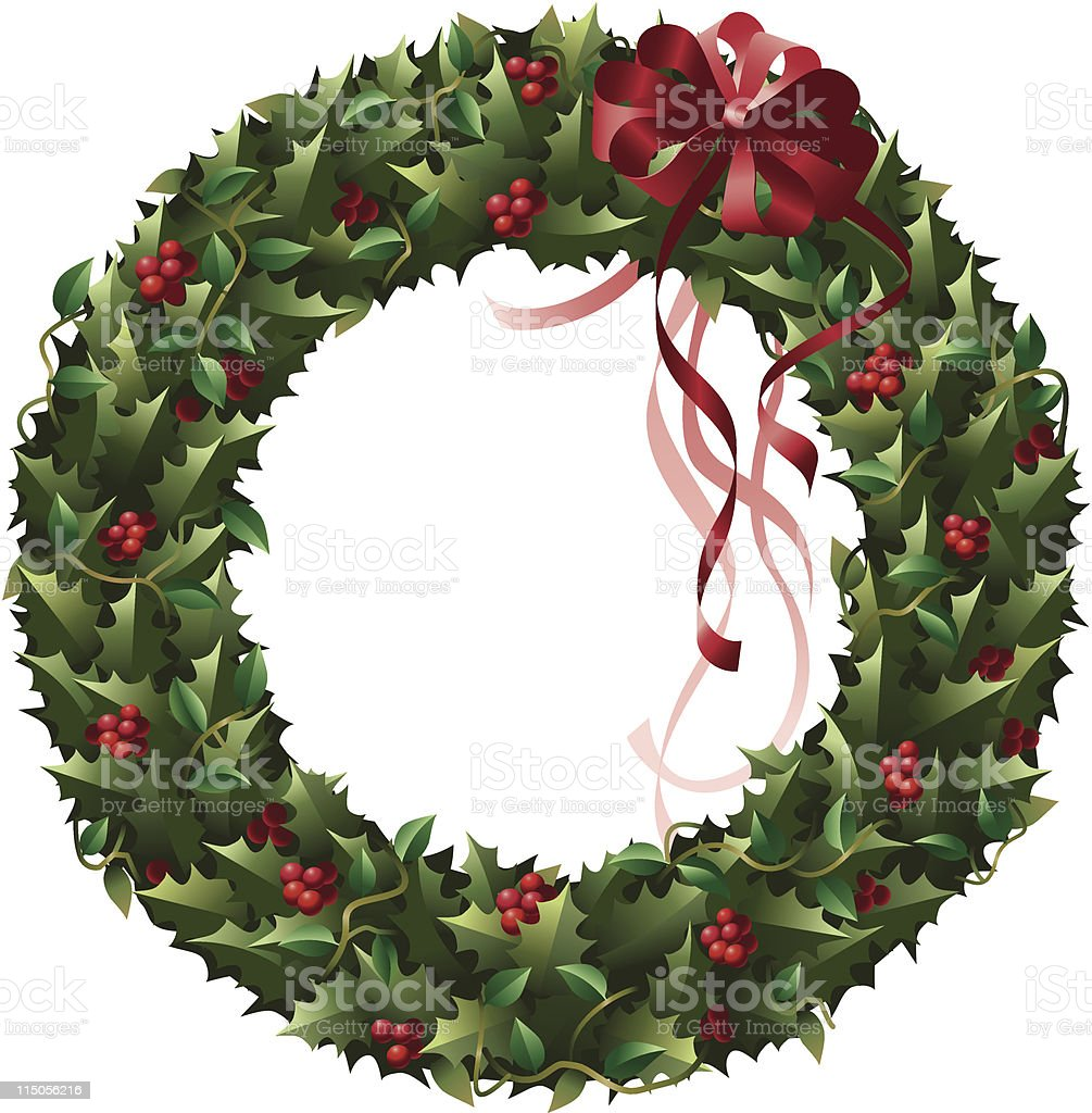 Holly and Ivy Wreath royalty-free stock vector art