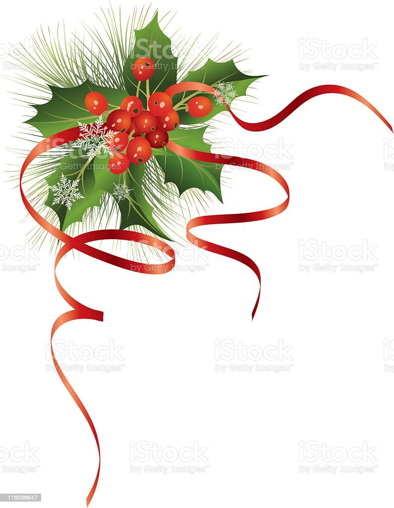 Holly and Ribbons Element royalty-free stock vector art