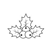 istock Holly berry Christmas outline icon. Vector contour illustration 1022118992