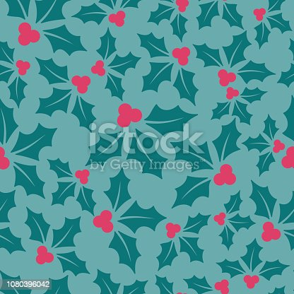 Seamless holly berry background.