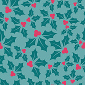 Holly Berry Holiday Seamless Background