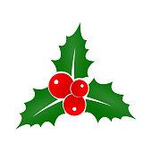 istock Holly Berry icon. Christmas symbol. Xmas holiday decoration element. Vector illustration. 1067314832